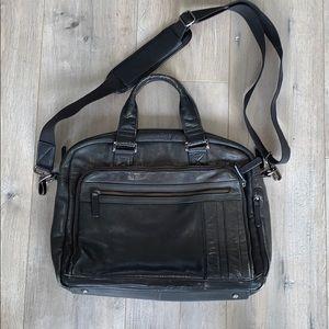 Danier Black Leather Laptop Briefcase Work Bag